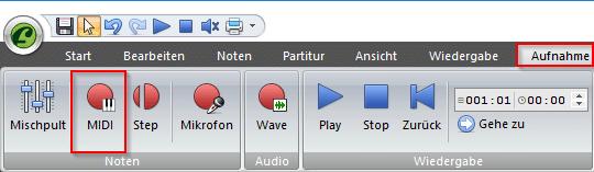 Noten über MIDI einspielen